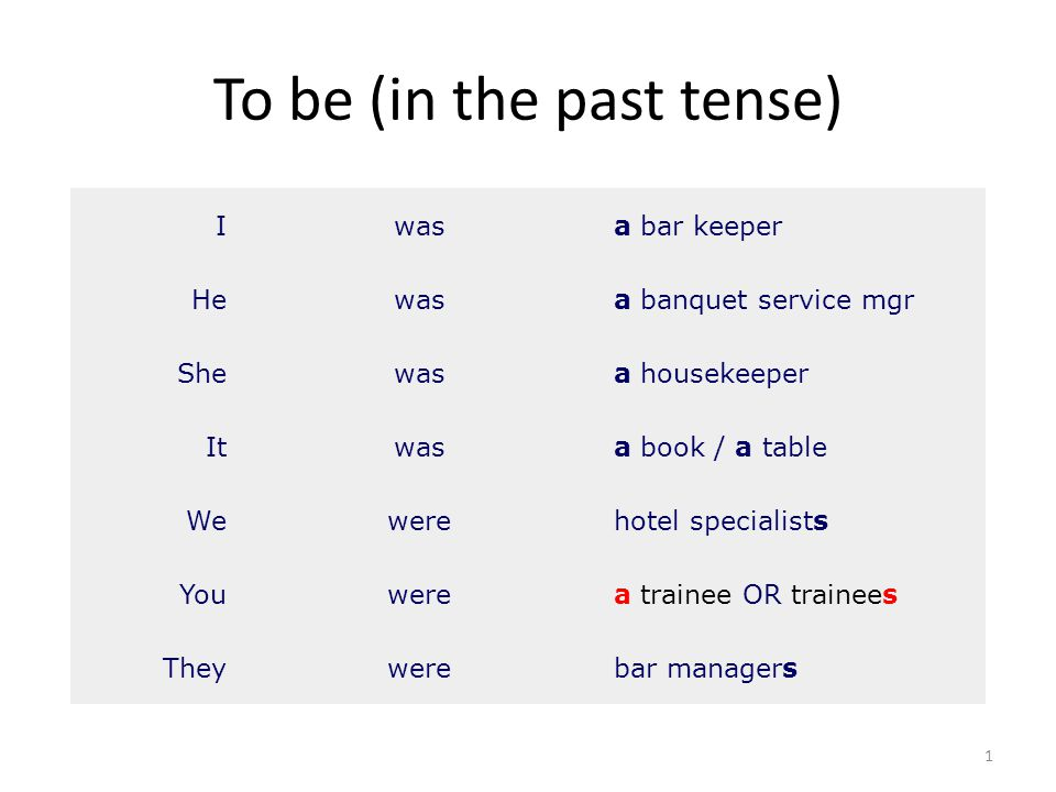 To be (in the past tense) 1 Iwasa bar keeper Hewasa banquet service mgr Shewasa housekeeper Itwasa book / a table Wewerehotel specialists Youwerea tra
