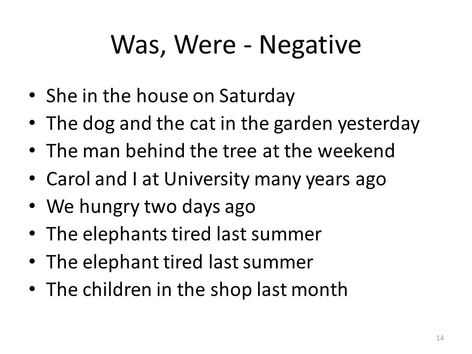 Was, Were - Negative She in the house on Saturday The dog and the cat in the garden yesterday The man behind the tree at the weekend Carol and I at Un