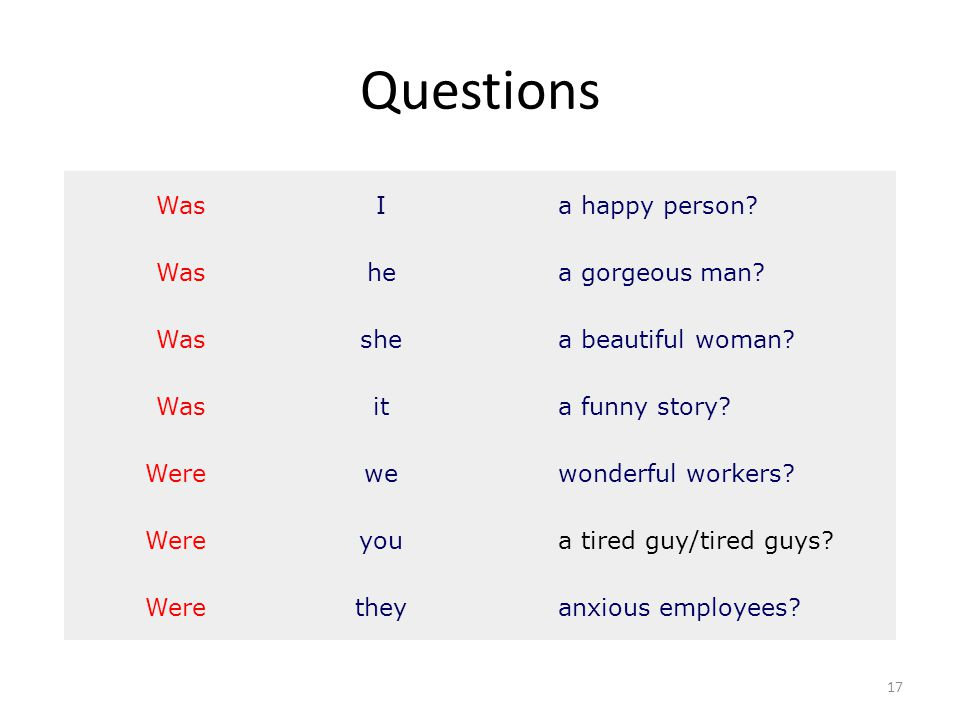 Questions 17 WasIa happy person? Washea gorgeous man? Wasshea beautiful woman? Wasita funny story? Werewewonderful workers? Wereyoua tired guy/tired g