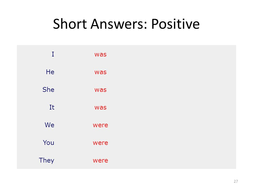 Short Answers: Positive 27 Iwas Hewas Shewas Itwas Wewere Youwere Theywere