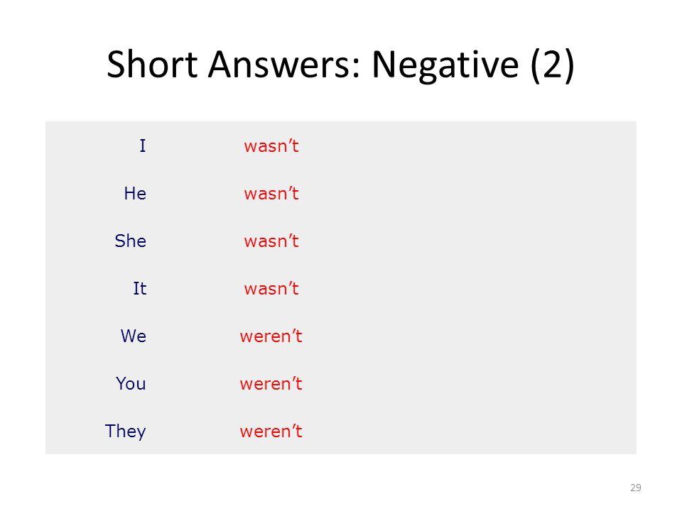 Short Answers: Negative (2) 29 Iwasn't Hewasn't Shewasn't Itwasn't Weweren't Youweren't Theyweren't
