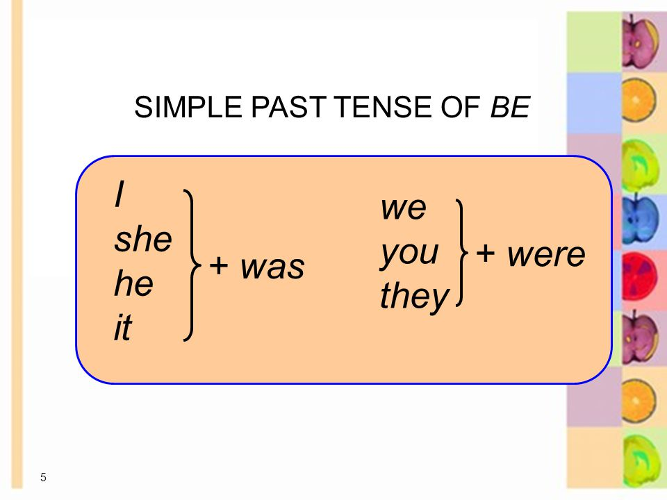 5 SIMPLE PAST TENSE OF BE 8-1 USING BE: PAST TIME I she he it + was we you they + were