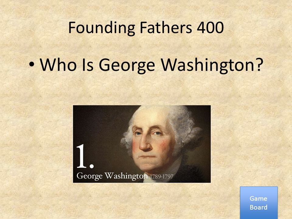 Founding Fathers 400 Who Is George Washington? Game Board Game Board