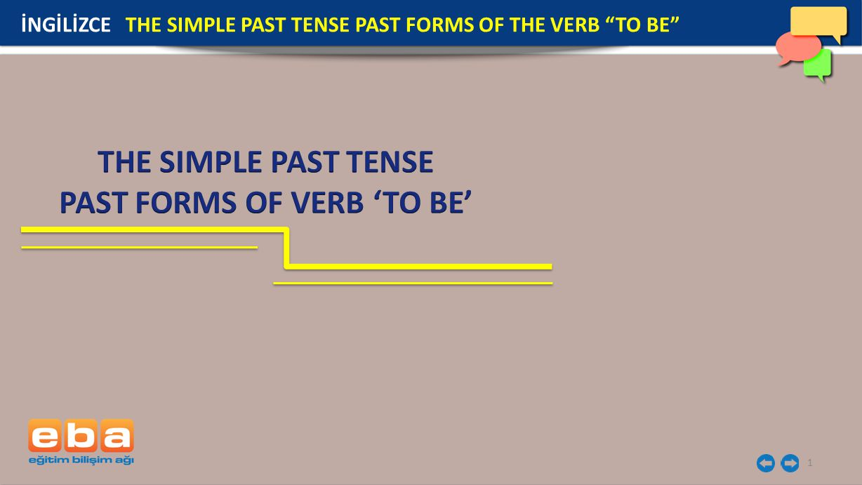 1 İNGİLİZCE THE SIMPLE PAST TENSE PAST FORMS OF THE VERB TO BE