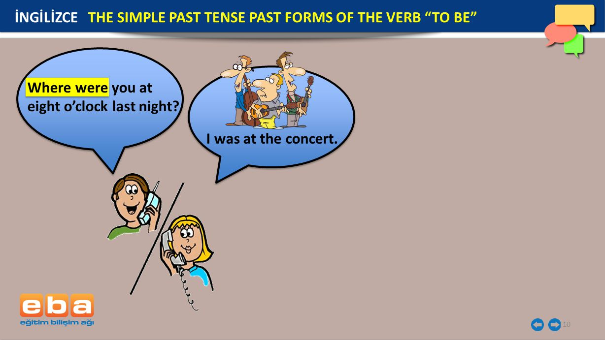 10 İNGİLİZCE THE SIMPLE PAST TENSE PAST FORMS OF THE VERB TO BE Where were you at eight o'clock last night.