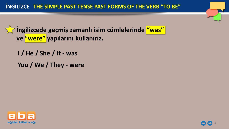 4 I / He / She / It - was You / We / They - were İngilizcede geçmiş zamanlı isim cümlelerinde was ve were yapılarını kullanırız.