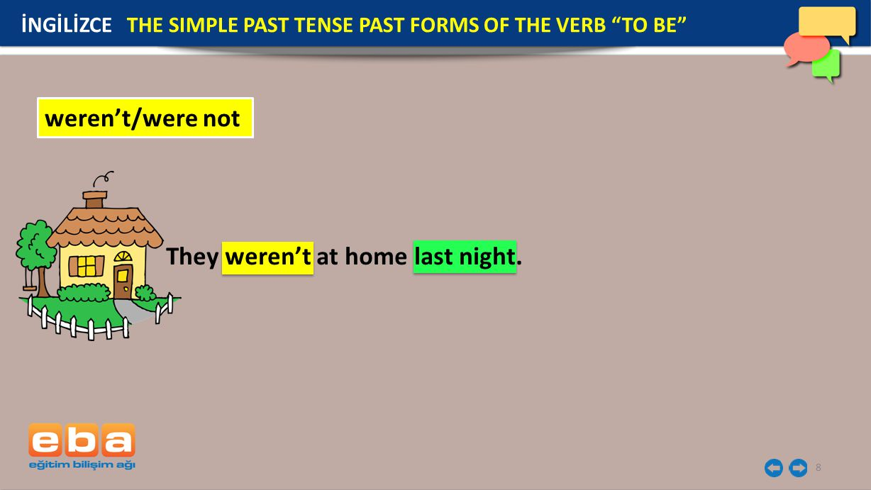 "8 İNGİLİZCE THE SIMPLE PAST TENSE PAST FORMS OF THE VERB ""TO BE"" weren't/were not They weren't at home last night."