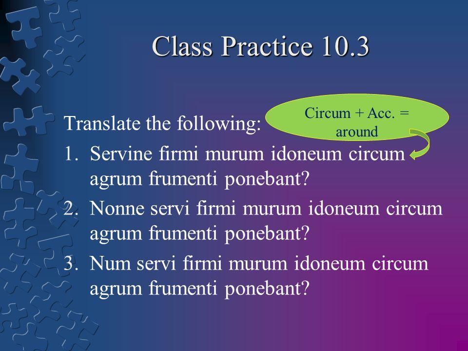 Class Practice 10.3 Translate the following: 1.Servine firmi murum idoneum circum agrum frumenti ponebant? 2.Nonne servi firmi murum idoneum circum ag