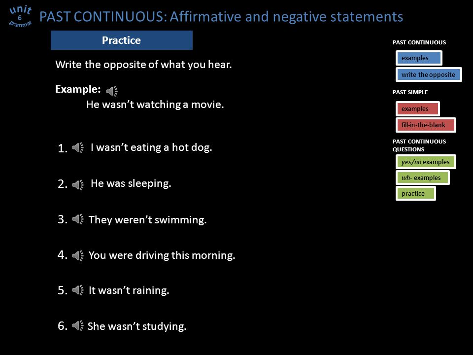 PAST CONTINUOUS: Affirmative and negative statements You were standing on my foot.