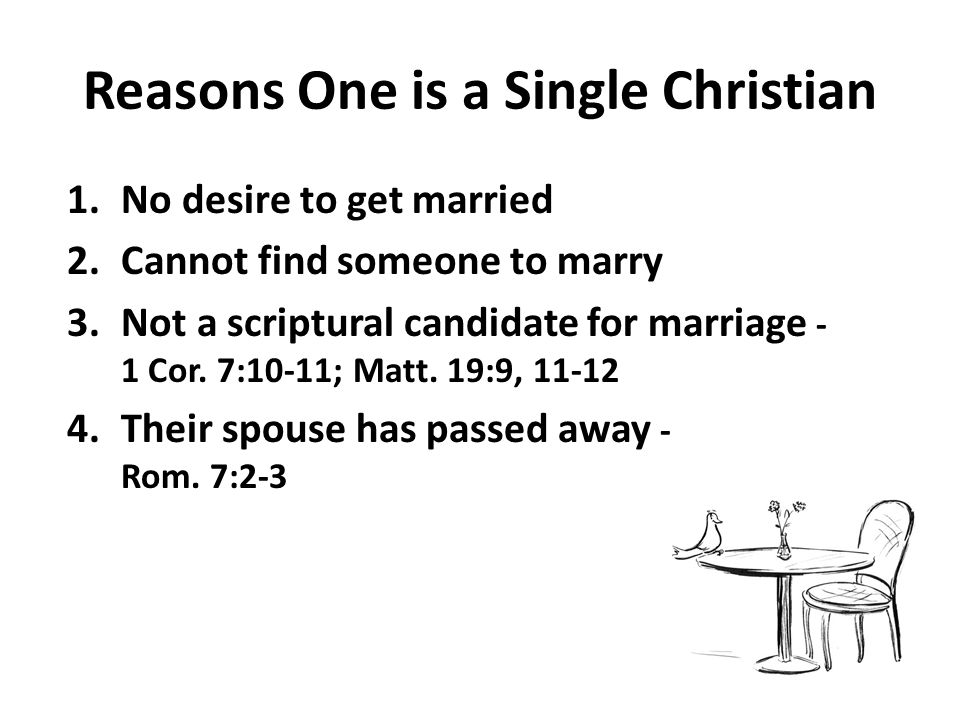 Reasons One is a Single Christian 1.No desire to get married 2.Cannot find someone to marry 3.Not a scriptural candidate for marriage - 1 Cor.