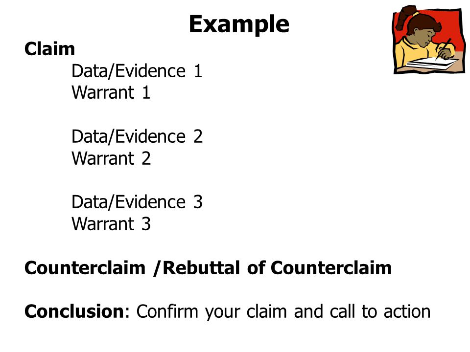 Example Claim Data/Evidence 1 Warrant 1 Data/Evidence 2 Warrant 2 Data/Evidence 3 Warrant 3 Counterclaim /Rebuttal of Counterclaim Conclusion: Confirm your claim and call to action