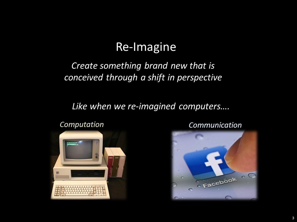 Re-Imagine 3 Computation Communication Like when we re-imagined computers….