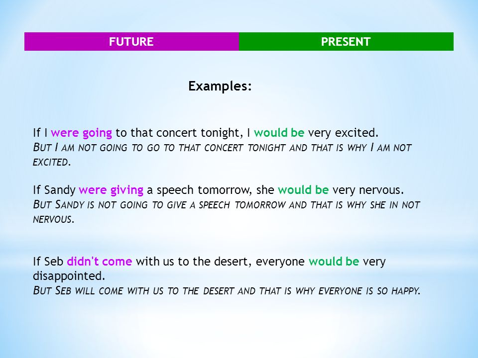 FUTUREPRESENT Examples: If I were going to that concert tonight, I would be very excited. B UT I AM NOT GOING TO GO TO THAT CONCERT TONIGHT AND THAT I