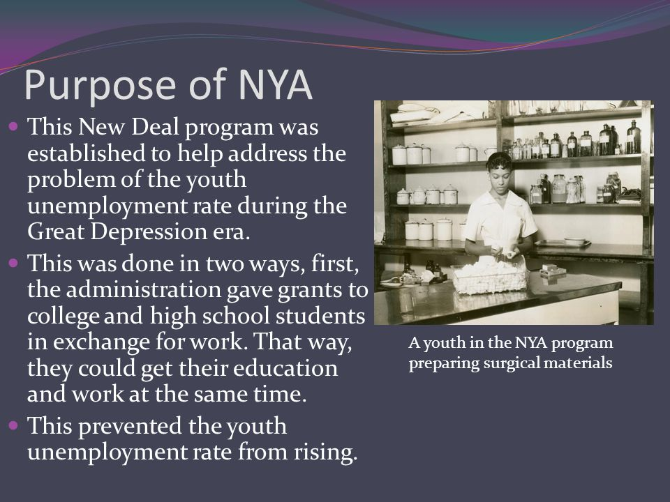 Purpose of NYA This New Deal program was established to help address the problem of the youth unemployment rate during the Great Depression era.