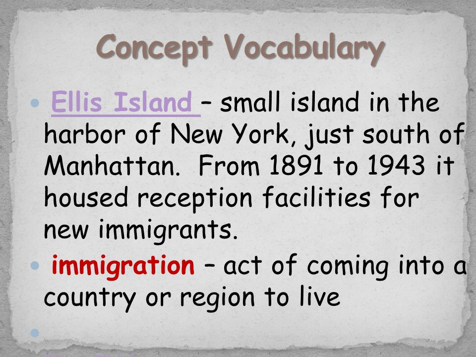 Ellis Island – small island in the harbor of New York, just south of Manhattan. From 1891 to 1943 it housed reception facilities for new immigrants.El