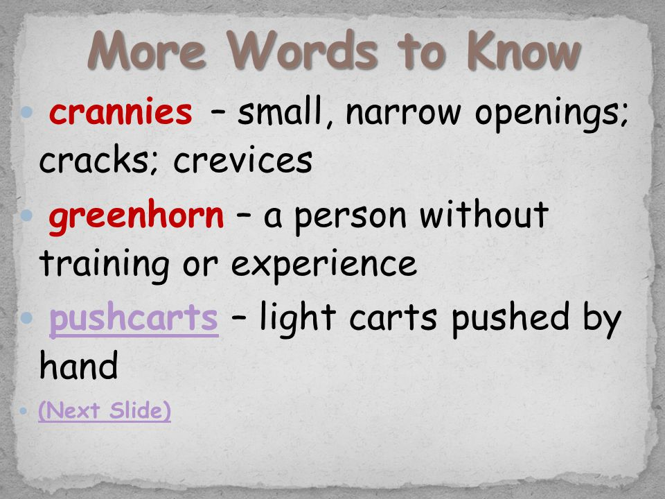 crannies – small, narrow openings; cracks; crevices greenhorn – a person without training or experience pushcarts – light carts pushed by handpushcarts (Next Slide)