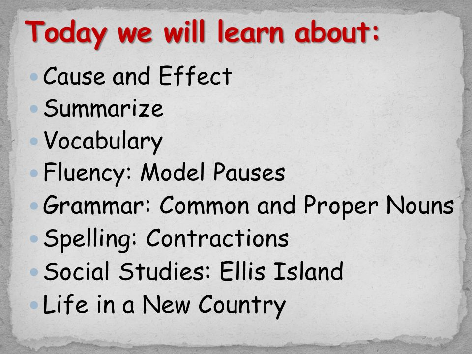 Cause and Effect Summarize Vocabulary Fluency: Model Pauses Grammar: Common and Proper Nouns Spelling: Contractions Social Studies: Ellis Island Life