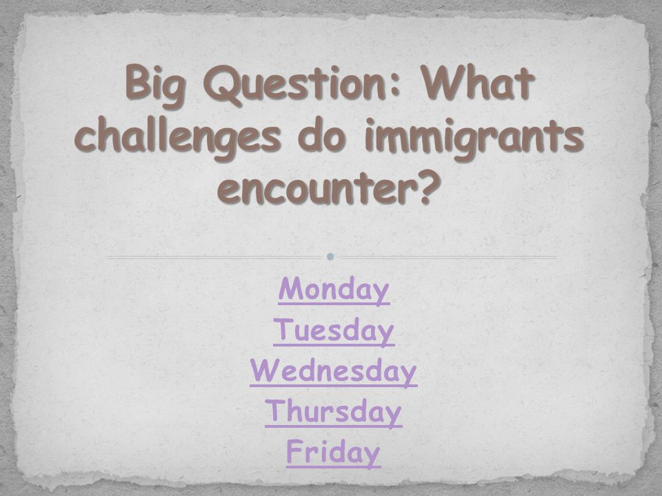 Question of the Day What thoughts and feelings might an immigrant experience upon leaving his or her homeland?