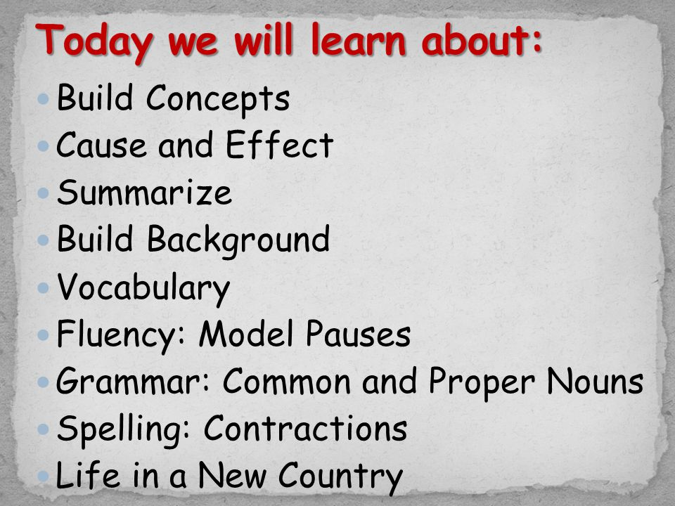 Build Concepts Cause and Effect Summarize Build Background Vocabulary Fluency: Model Pauses Grammar: Common and Proper Nouns Spelling: Contractions Life in a New Country