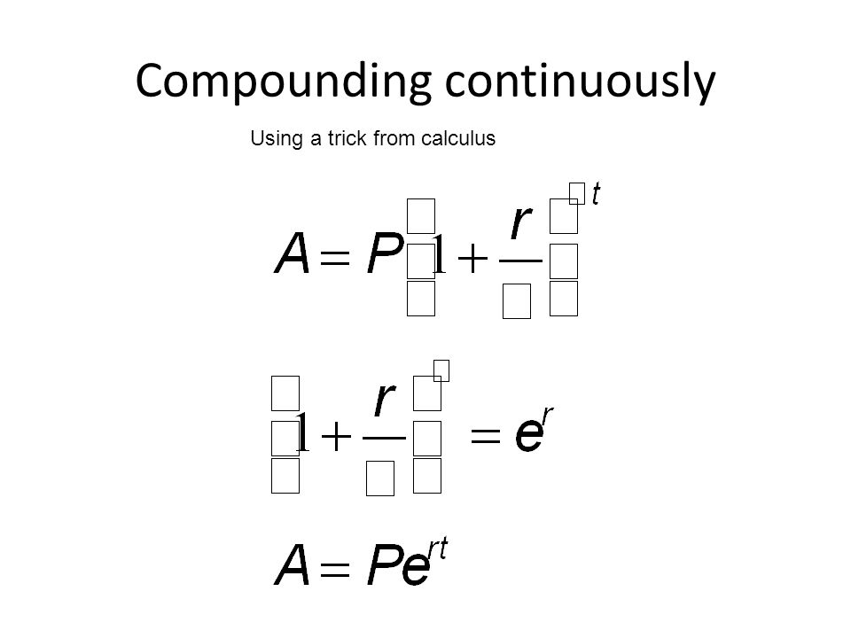 Compounding continuously Using a trick from calculus