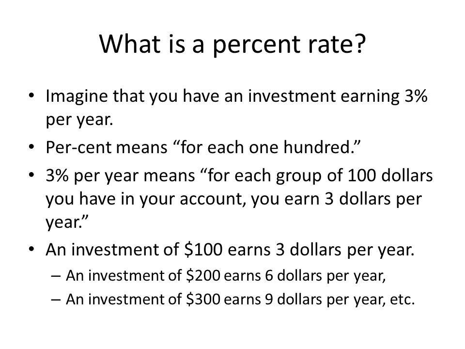 What is a percent rate. Imagine that you have an investment earning 3% per year.