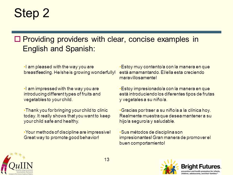 Step 2  Providing providers with clear, concise examples in English and Spanish: 13 I am pleased with the way you are breastfeeding.