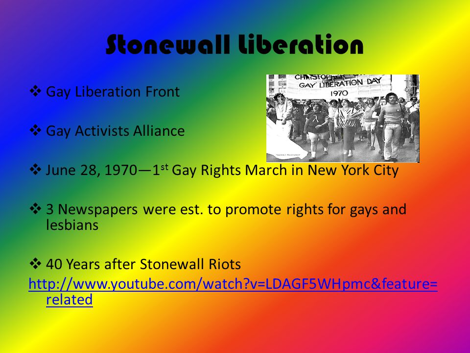 Stonewall Liberation  Gay Liberation Front  Gay Activists Alliance  June 28, 1970—1 st Gay Rights March in New York City  3 Newspapers were est.