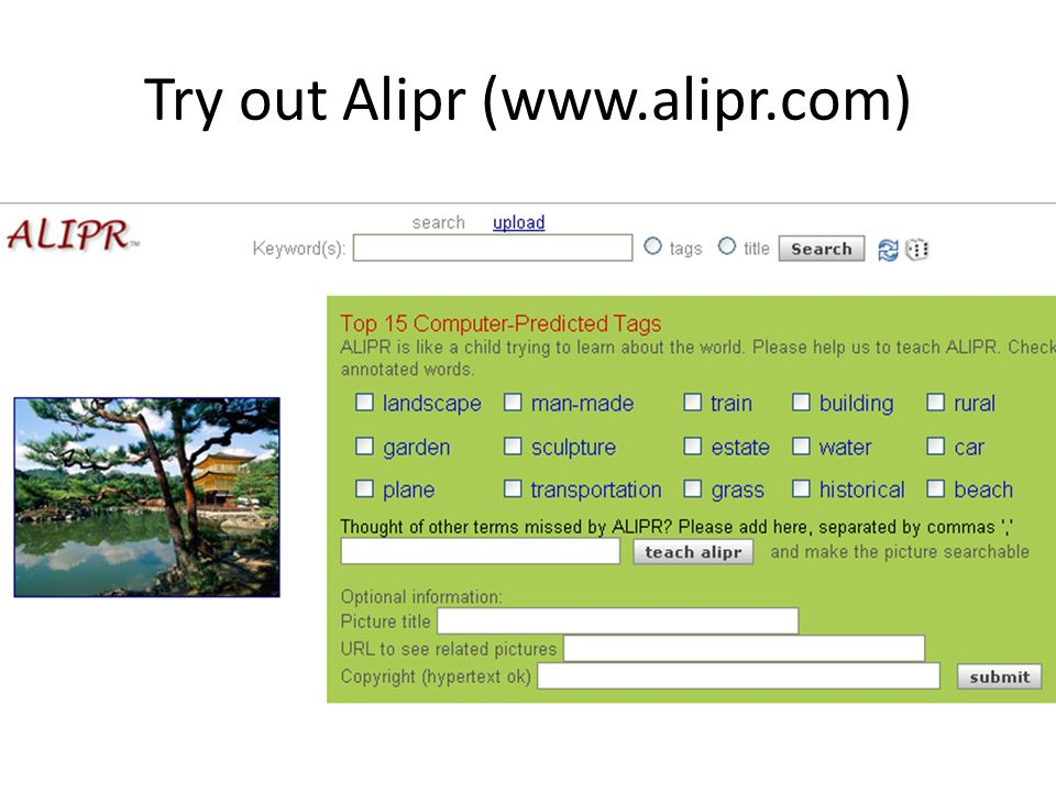 Try out Alipr (www.alipr.com)