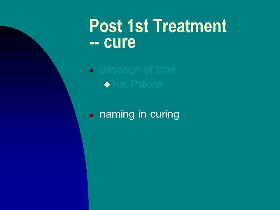 Post 1st Treatment -- cure n passage of time u Nat Pallone