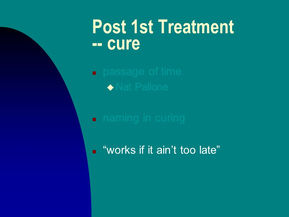 Post 1st Treatment -- cure n passage of time u Nat Pallone n naming in curing