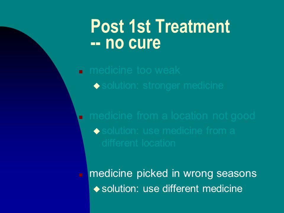 Post 1st Treatment -- no cure n medicine too weak u solution: stronger medicine n medicine from a location not good u solution: use medicine from a di