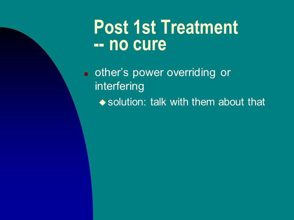 "Post 1st Treatment -- no cure n Medicine ""interpreted"" incorrectly u solution: reinterpret or re-mix"