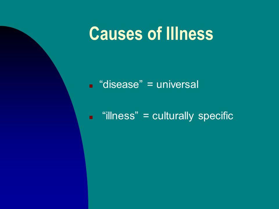 Causes of Illness n disease = universal