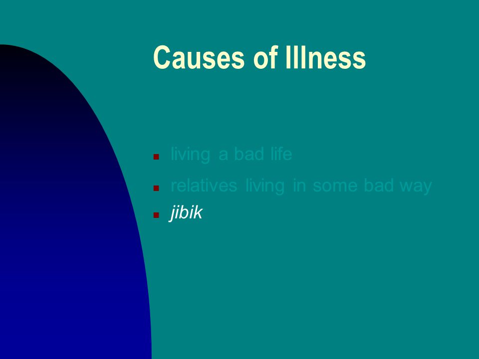 Causes of Illness n living a bad life n relatives living in some bad way