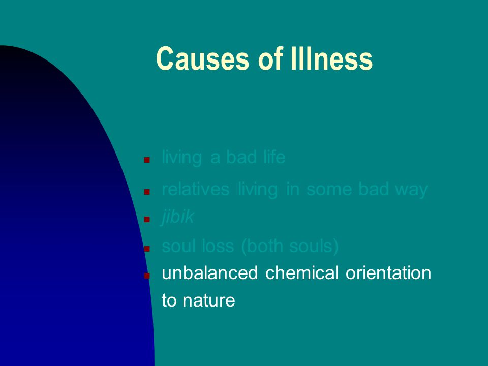 Causes of Illness n living a bad life n relatives living in some bad way n jibik n soul loss (both souls)