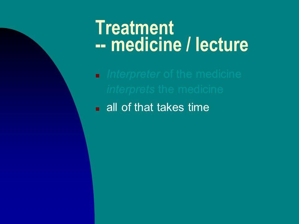 Treatment -- medicine / lecture n Interpreter of the medicine interprets the medicine