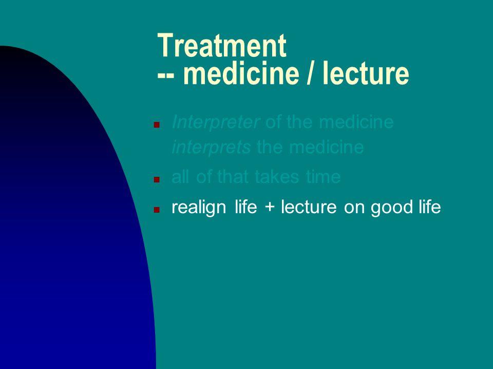 Treatment -- medicine / lecture n Interpreter of the medicine interprets the medicine n all of that takes time