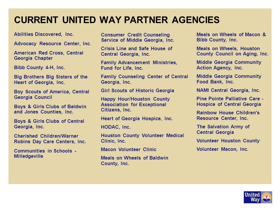 CURRENT UNITED WAY PARTNER AGENCIES Abilities Discovered, Inc.