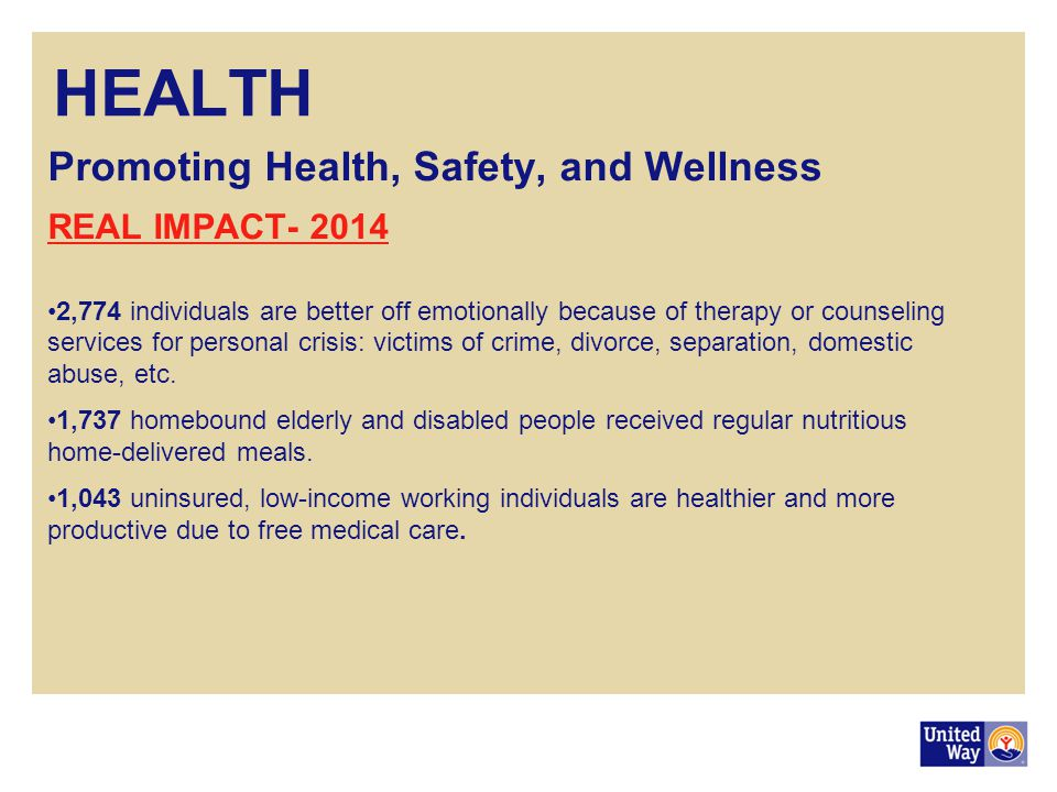 HEALTH Promoting Health, Safety, and Wellness REAL IMPACT- 2014 2,774 individuals are better off emotionally because of therapy or counseling services for personal crisis: victims of crime, divorce, separation, domestic abuse, etc.