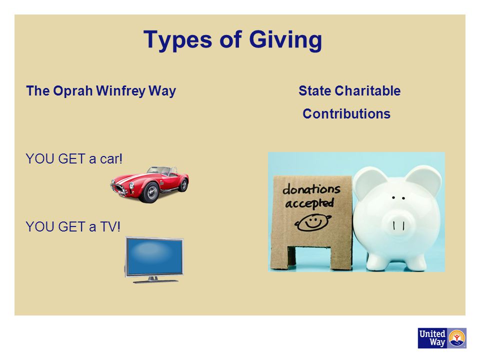 Types of Giving The Oprah Winfrey Way State Charitable Contributions YOU GET a car! YOU GET a TV!