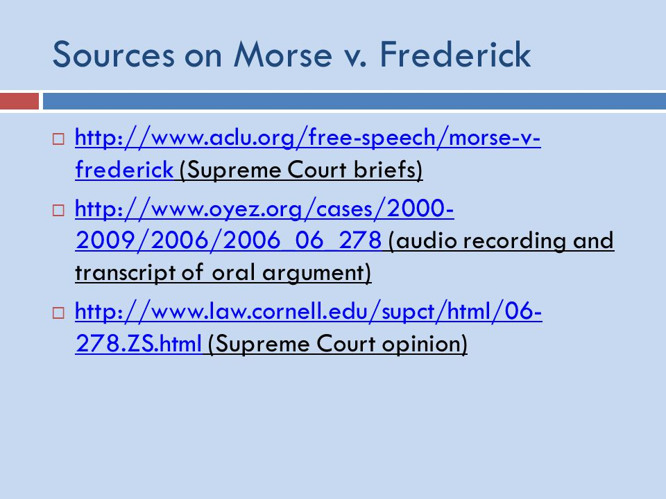 Sources on Morse v.