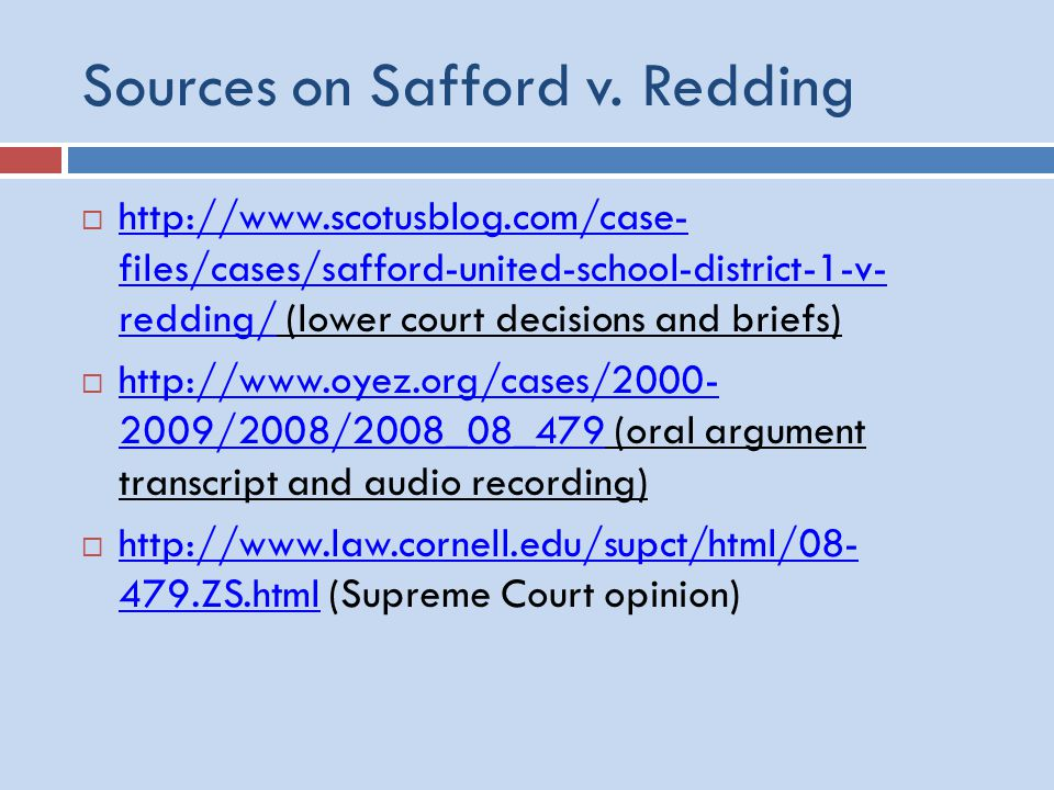 Sources on Safford v.