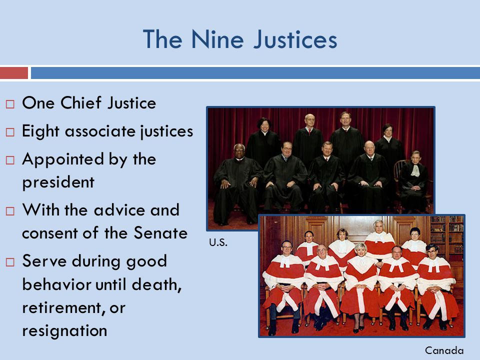 The Nine Justices  One Chief Justice  Eight associate justices  Appointed by the president  With the advice and consent of the Senate  Serve during good behavior until death, retirement, or resignation U.S.