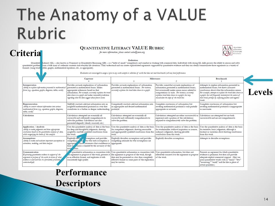 14 Criteria Performance Descriptors Levels