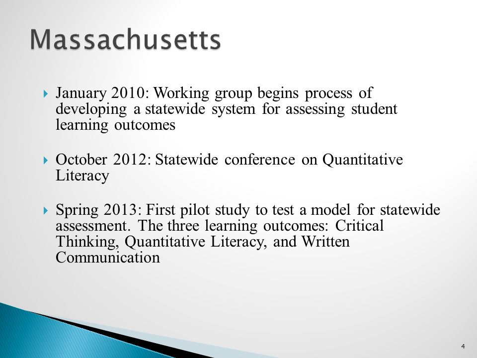  January 2010: Working group begins process of developing a statewide system for assessing student learning outcomes  October 2012: Statewide conference on Quantitative Literacy  Spring 2013: First pilot study to test a model for statewide assessment.