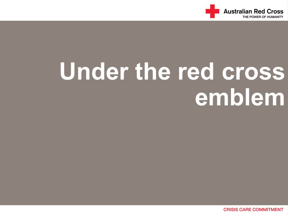 Under the red cross emblem