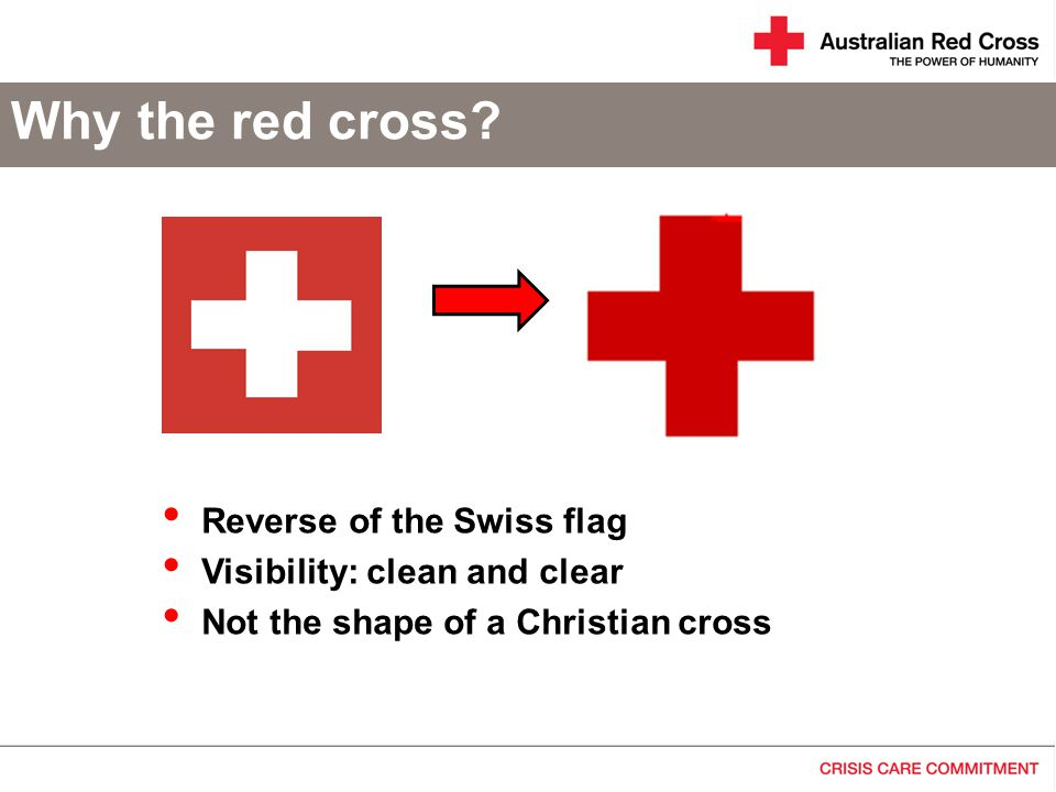 The red crescent The red cross is often misunderstood as a Christian symbol The red crescent was used in the field from 1876 Firstly by Turks (Ottoman Empire) Officially adopted from 1929
