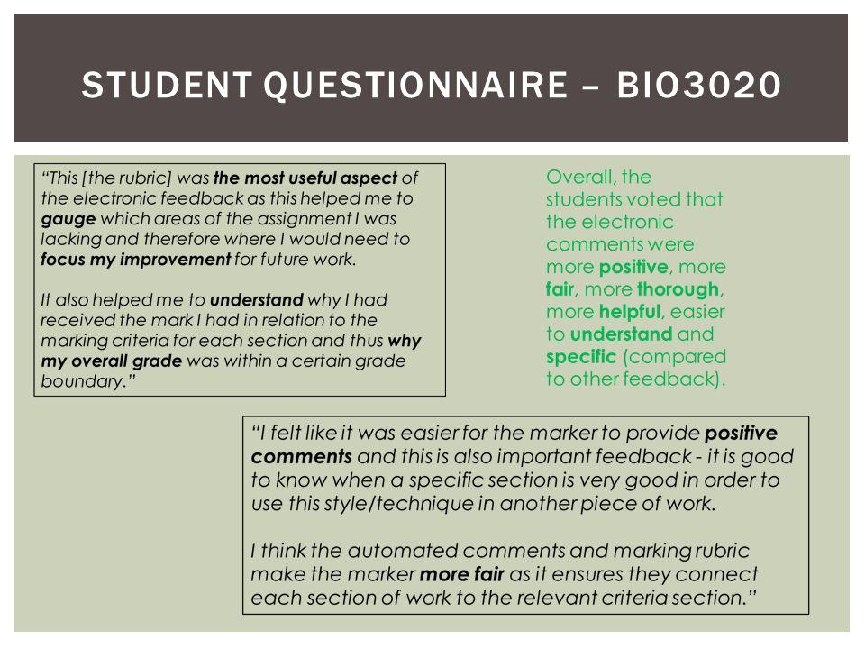 STUDENT QUESTIONNAIRE – BIO3020
