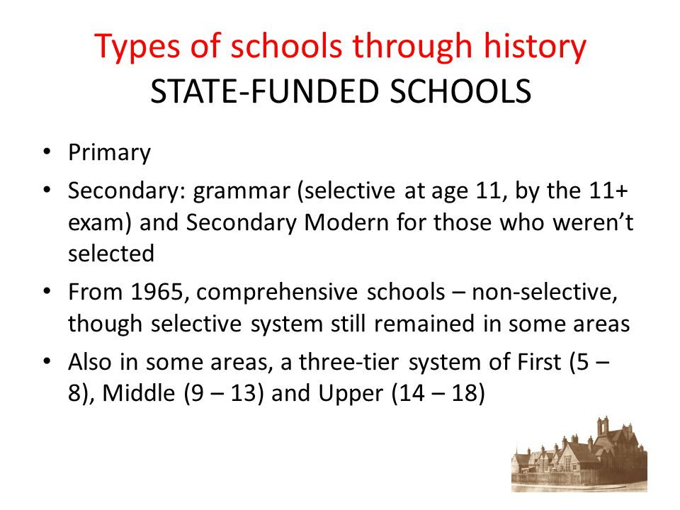 Types of schools through history STATE-FUNDED SCHOOLS Primary Secondary: grammar (selective at age 11, by the 11+ exam) and Secondary Modern for those who weren't selected From 1965, comprehensive schools – non-selective, though selective system still remained in some areas Also in some areas, a three-tier system of First (5 – 8), Middle (9 – 13) and Upper (14 – 18)