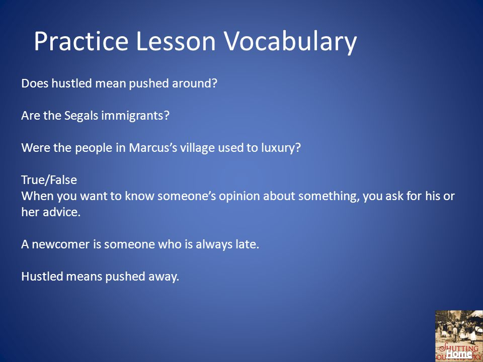 Practice Lesson Vocabulary Does hustled mean pushed around.